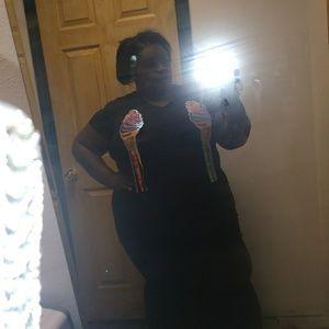 Black ice cream dress with.  Cute bottom